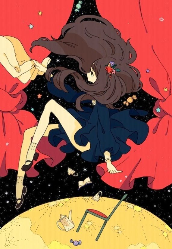 Floating In Space Anime Art Girl Cute Art