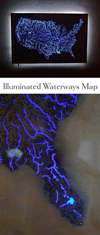 Illuminated Waterways of the United States Map | Laser