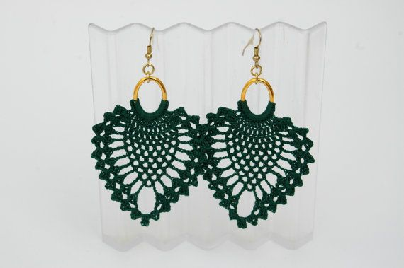Items similar to Crochet earrings - Large crochet earrings - Crochet earring jewelry - Dark green- Textile jewelry - Pineapple earrings on Etsy #crochetedearrings