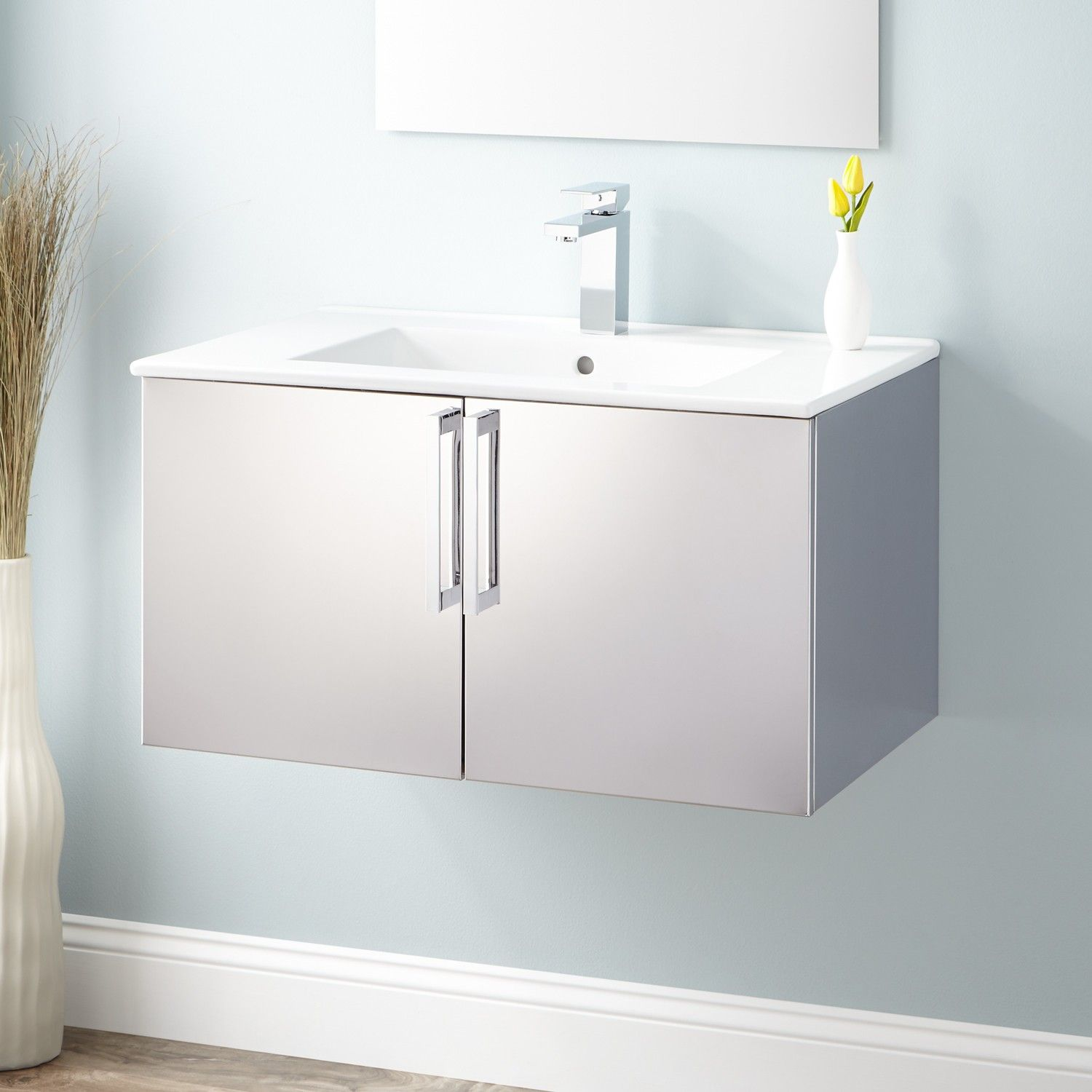 "30"" Crosstown Stainless Steel Wallhung Vanity  Polished  Wall Fascinating 30 Bathroom Vanity With Drawers Review"
