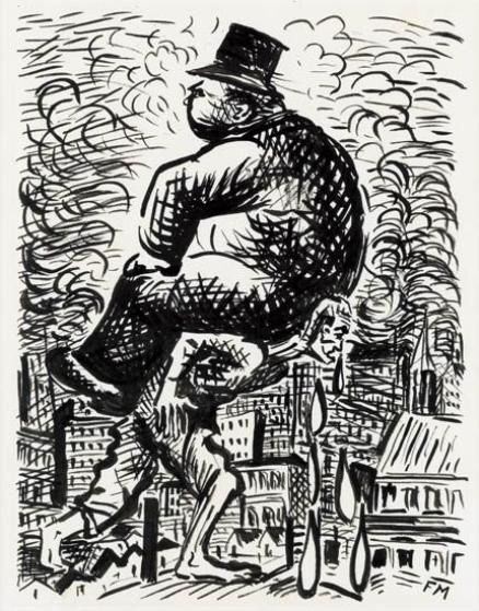 Artwork by Frans Masereel, Capitalist riding on the back of a worker, Made of India ink on paper