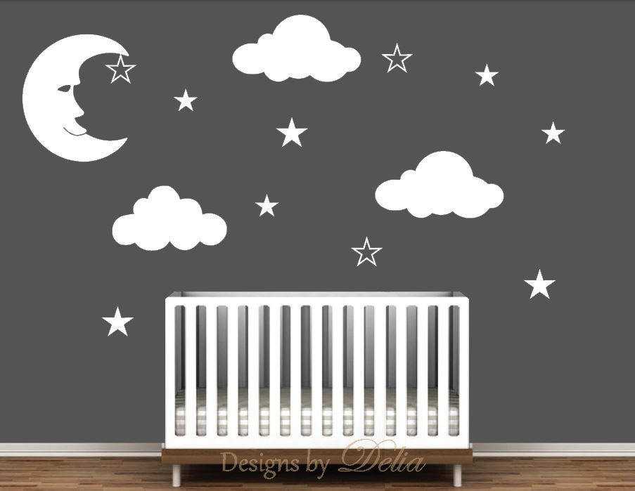 Nursery Wall Decal With Moon Clouds And Stars Wall Decals - Nursery wall decals clouds
