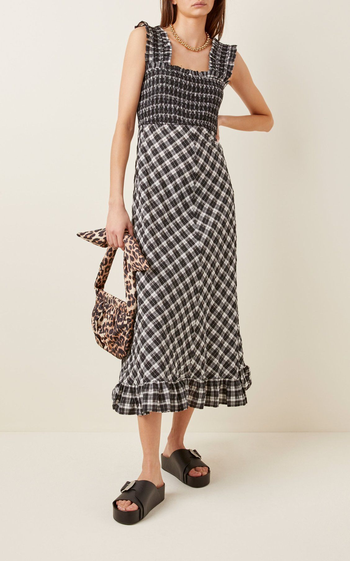 Ganni Smocked Checked Seersucker Midi Dress In 2020 Dresses Midi Dress Seersucker