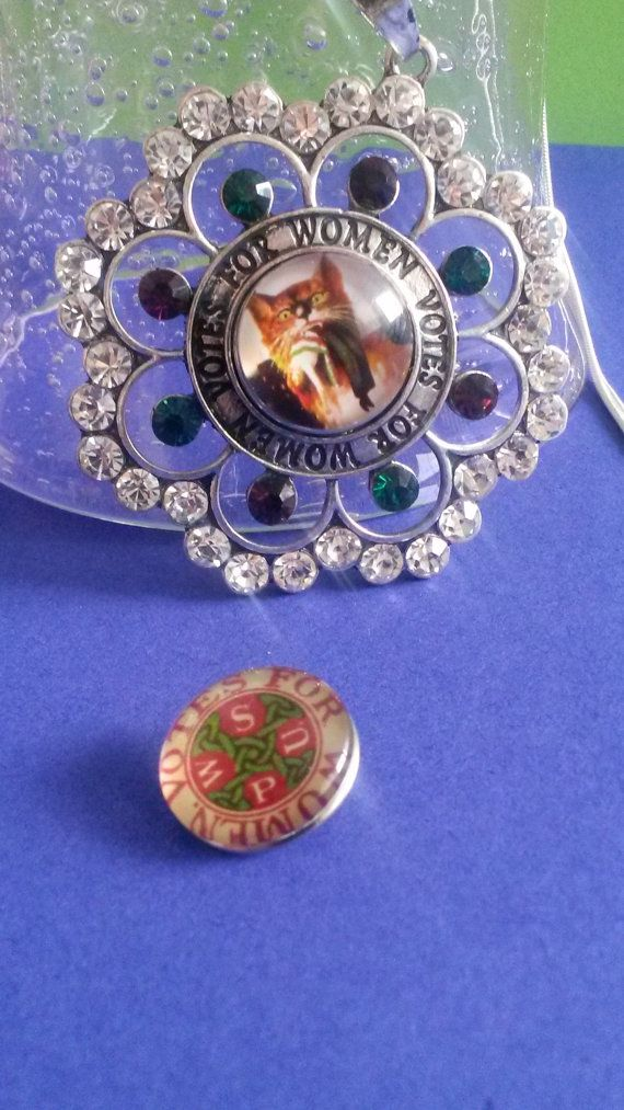 Votes For Women Suffragette Style snap Pendant by SuffragetteStuff