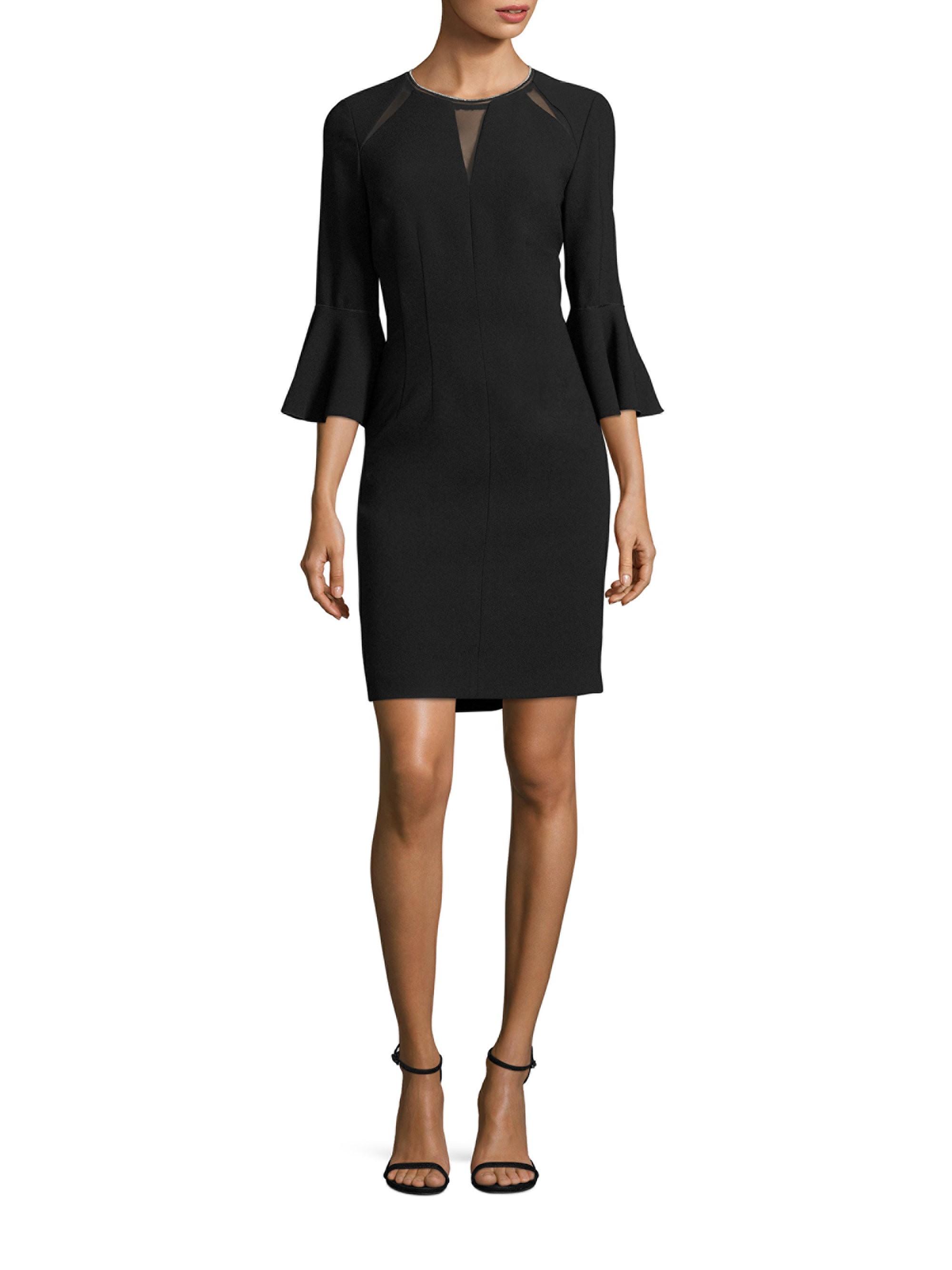 1f7e2a84 Elie Tahari Garcia Bell-Sleeve Embellished Sheath Dress - Black 6