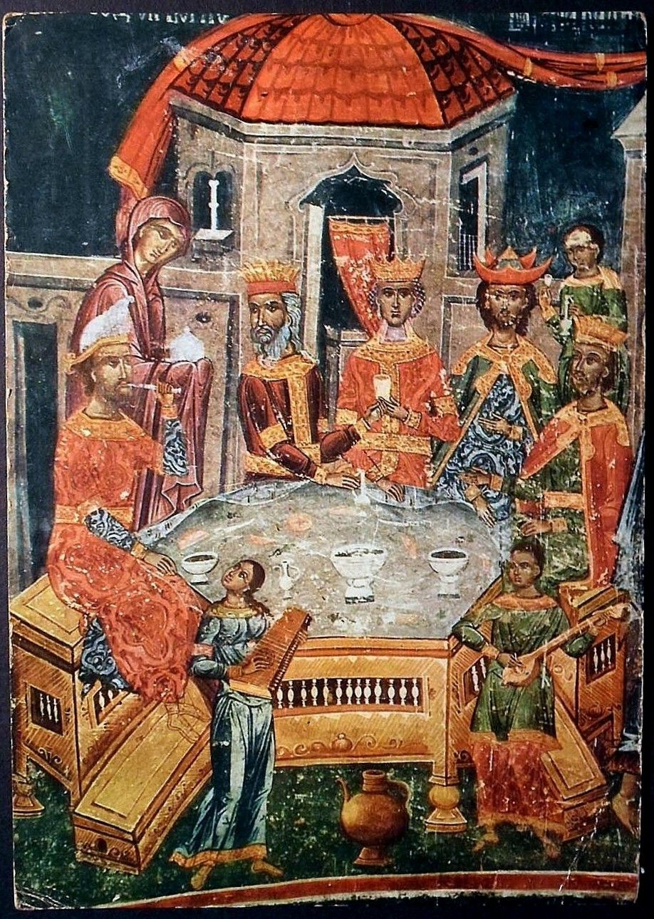 Wedding at Cana (detail), monastery Hopovo, XVII century, Fruška Gora mountain, Serbia. Svadba u Kani (detalj), manastir Hopovo, XVII vek, Fruška Gora, Srbija.