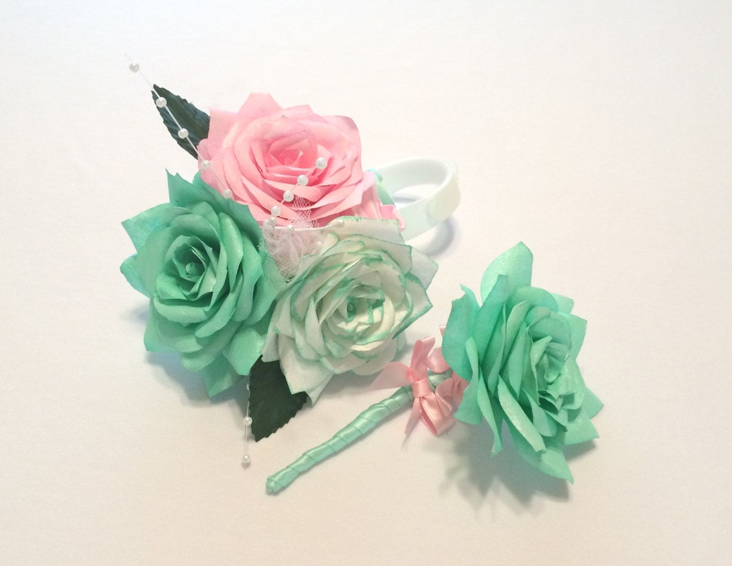 Mint Green And Pink Corsages Mothers Wedding Corsage Prom Corsage