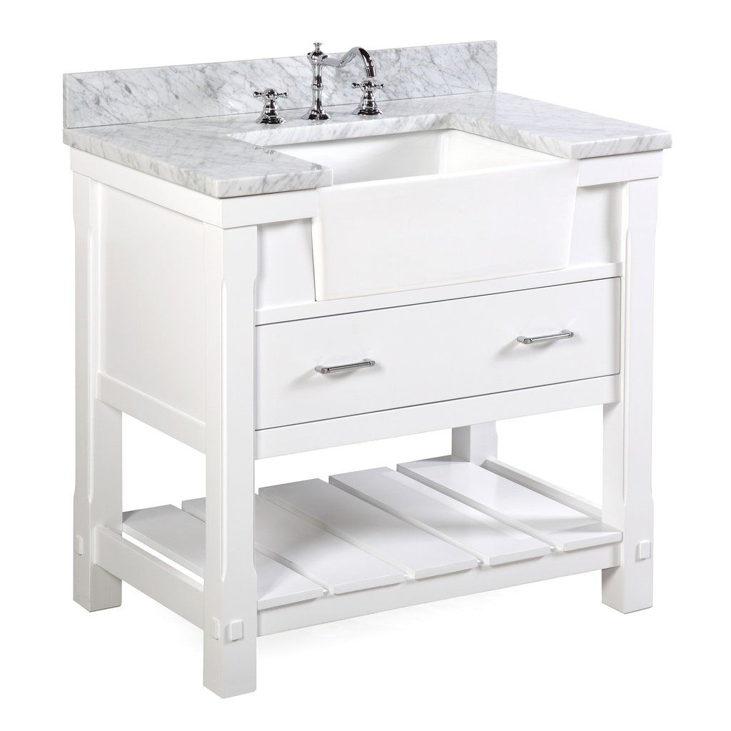 Charlotte 36 Inch Farmhouse Vanity With Carrara Marble Top In 2021 Single Bathroom Vanity Farmhouse Vanity Farmhouse Bathroom Vanity [ 1024 x 1024 Pixel ]