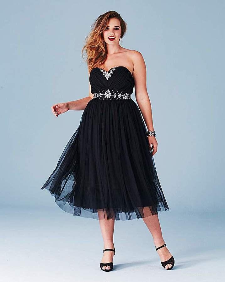 AX PARIS CURVE Black Sequin Embellished Midi Dress, Plus
