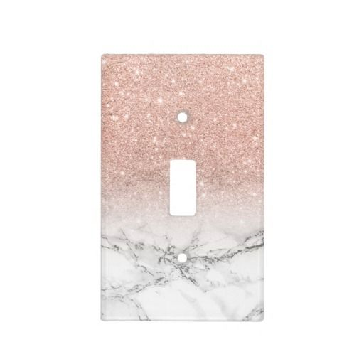 Stylish Faux Rose Pink Glitter Ombre White Marble Light