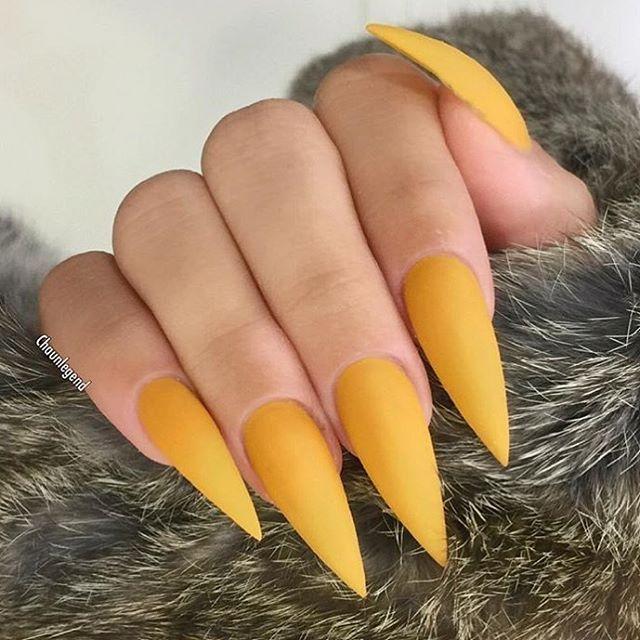 Beautiful Mustard Yellow Stilettos By Chaunlegend Nailsmagazine Yellow Nails Design Yellow Nails Fabulous Nails