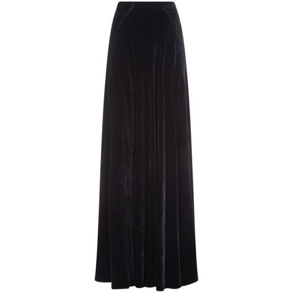 Etro Velvet A-Line Maxi Skirt (€865) ❤ liked on Polyvore featuring skirts, maxi skirt, embellished maxi skirt, ankle length skirt, etro and long a line skirt