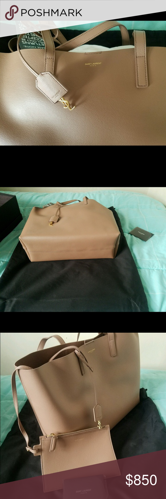 100% nwt Yves Saint Laurent tote New with tags. Never been used. Nude color tote comes with matching coin purse. 14.5 w x 11h x 5d. Bag includes dust bag and authenticity card. Gold tone hardware. Magnetic snap. Made in Italy. Yves Saint Laurent Bags Totes