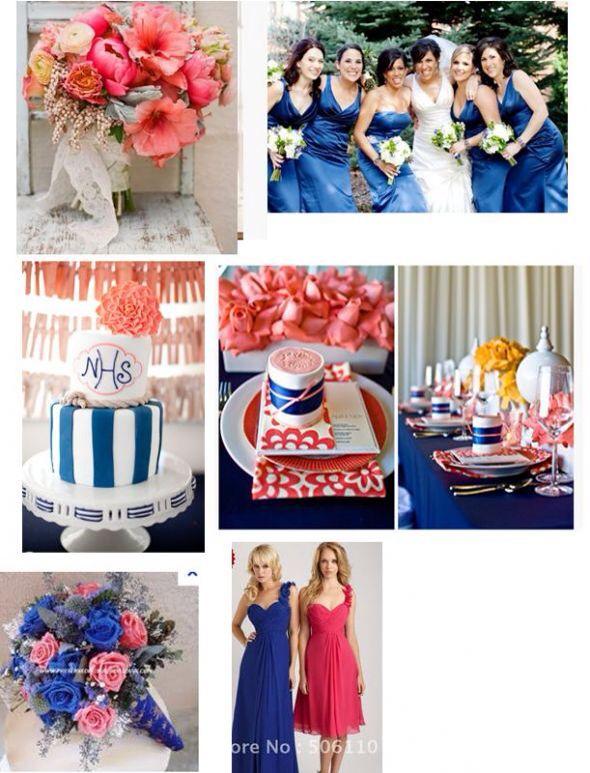 Royal Blue And Coral Royal Blue Wedding Theme Coral Wedding