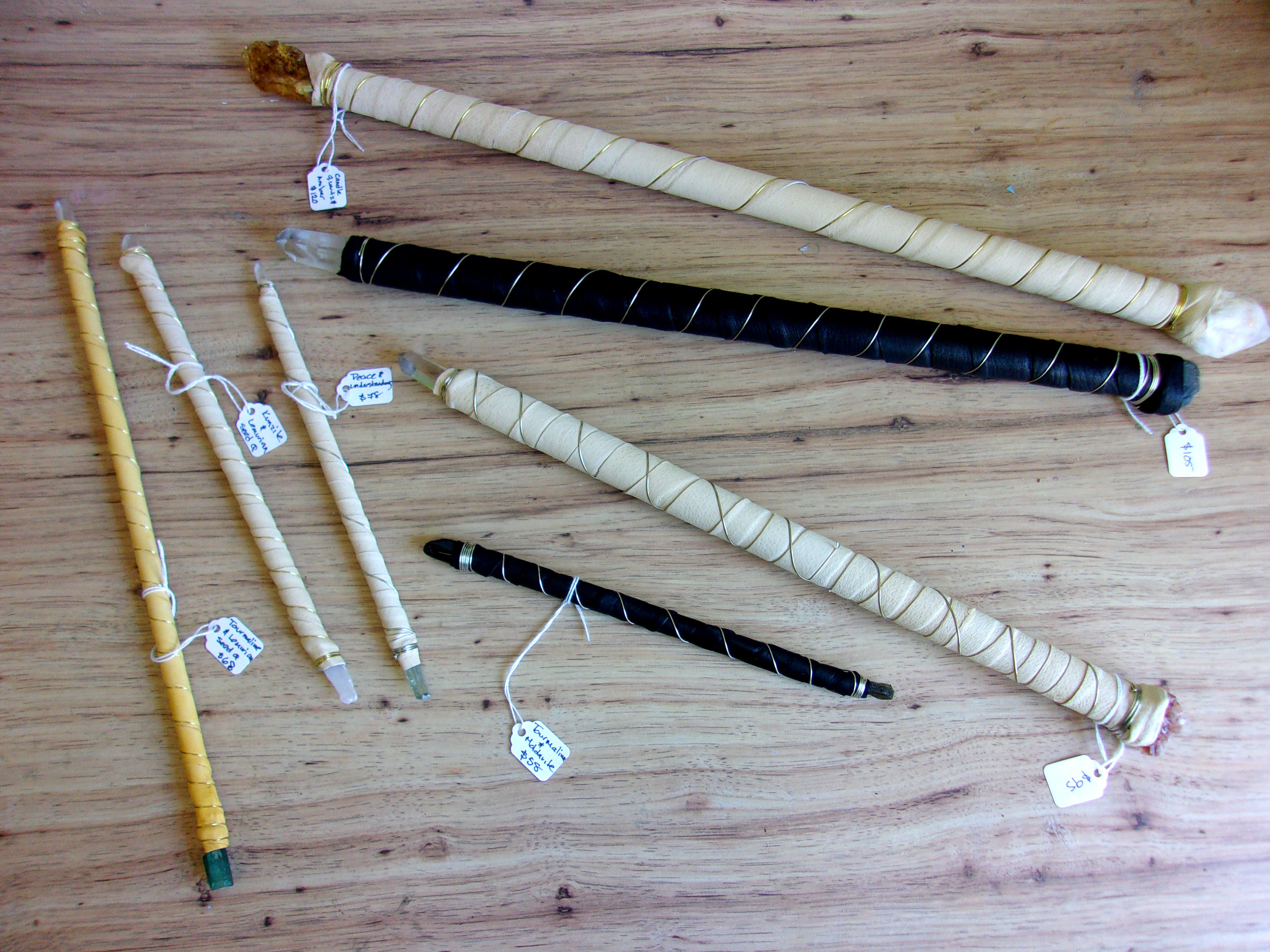 Leather-wrapped crystal wands, made in CT
