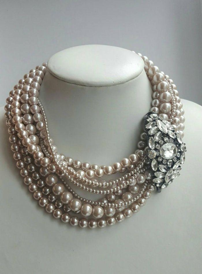 Fashion Pearl Crystal Choker Chunky Statement Bib Chaîne Collier Pendentif Bijoux