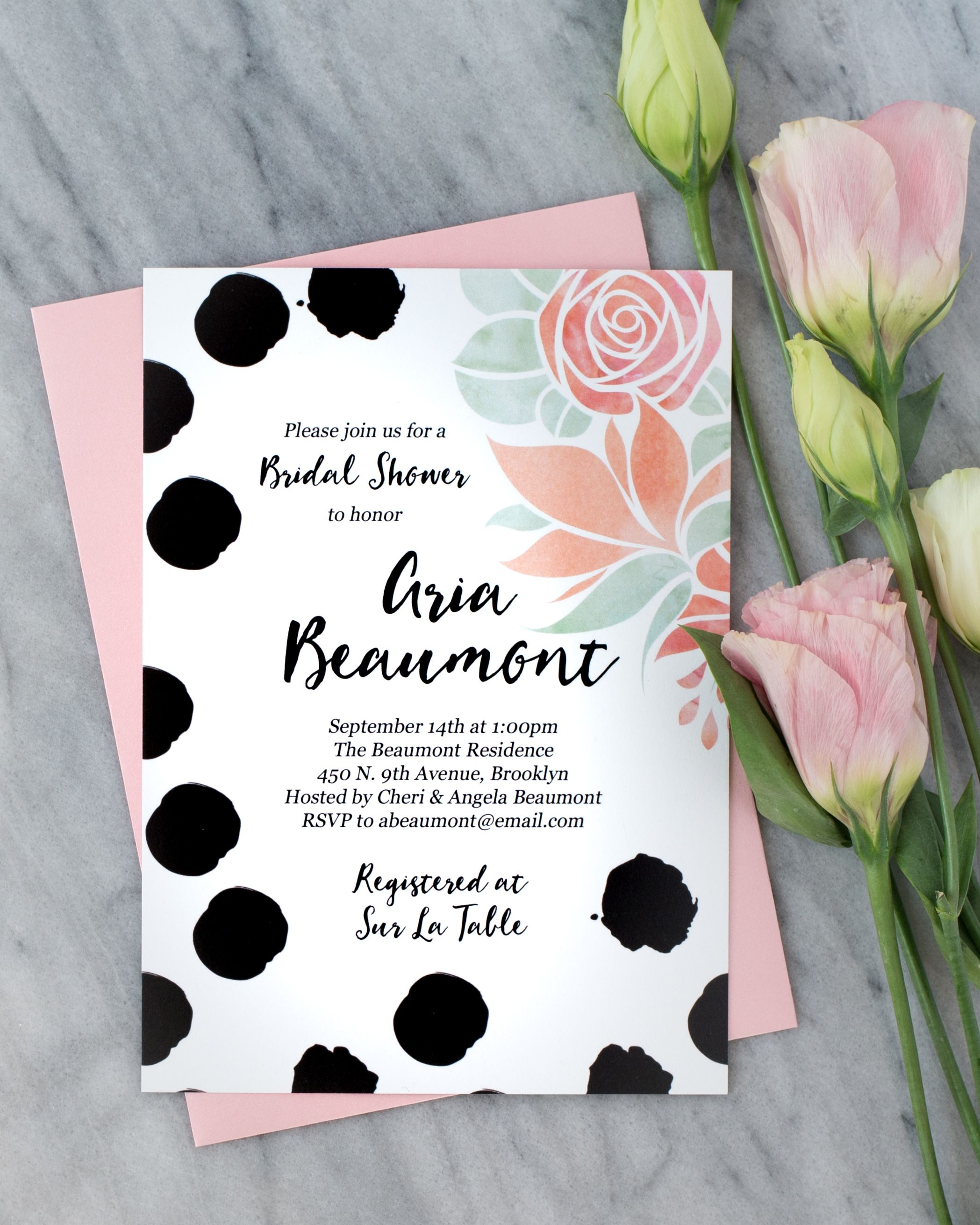 Chic Bridal Shower Invitation With Bold Painterly Black Polka Dots Soft Pink Watercolor Fl Bloomodern Lettering