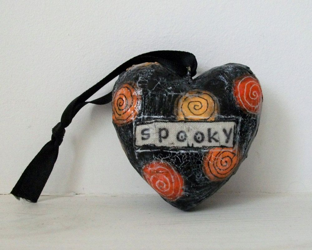 Whimsical Halloween art shabby hanging heart decoration Mixed media - Whimsical Halloween Decorations