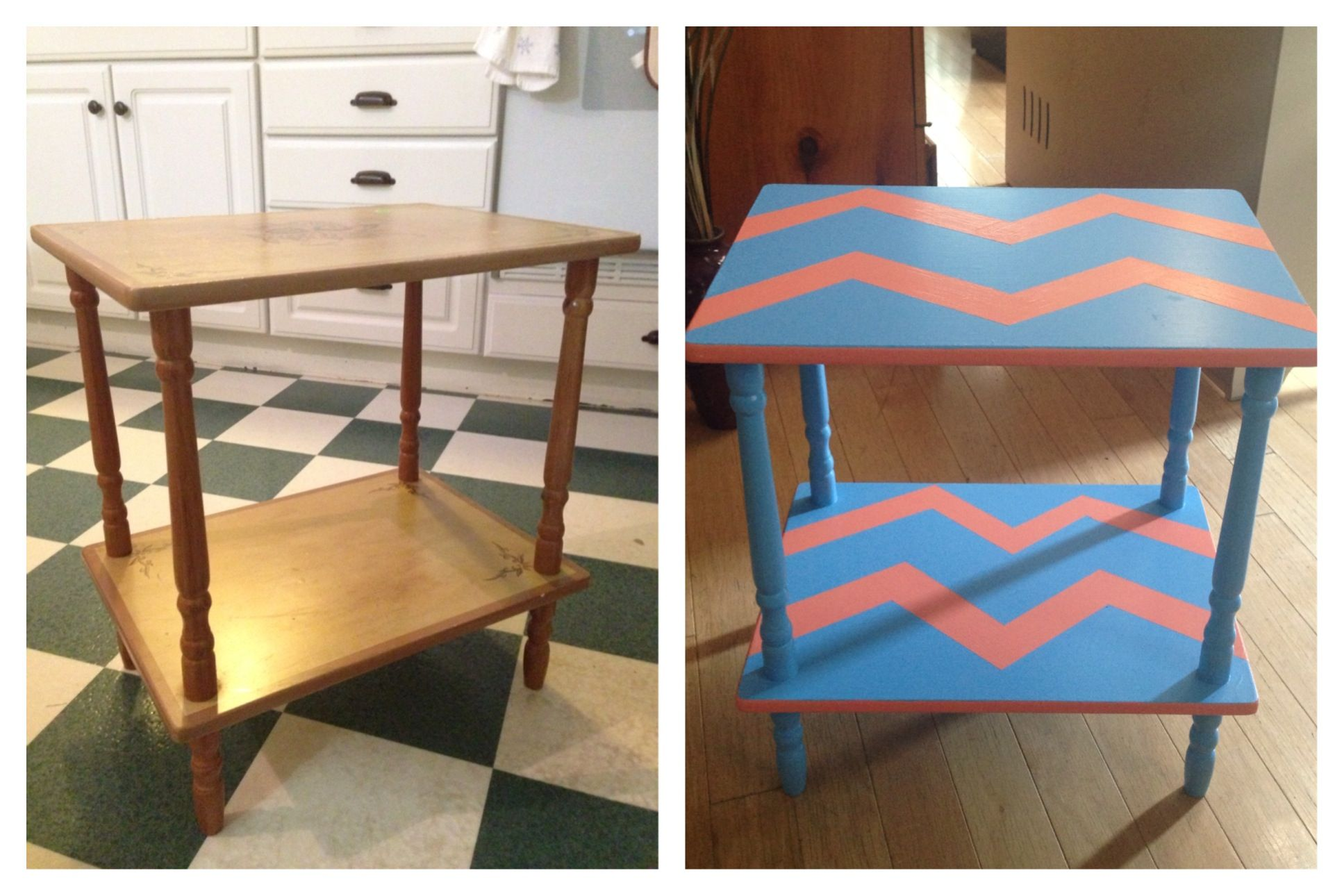 Before and after $5 garage sale table!