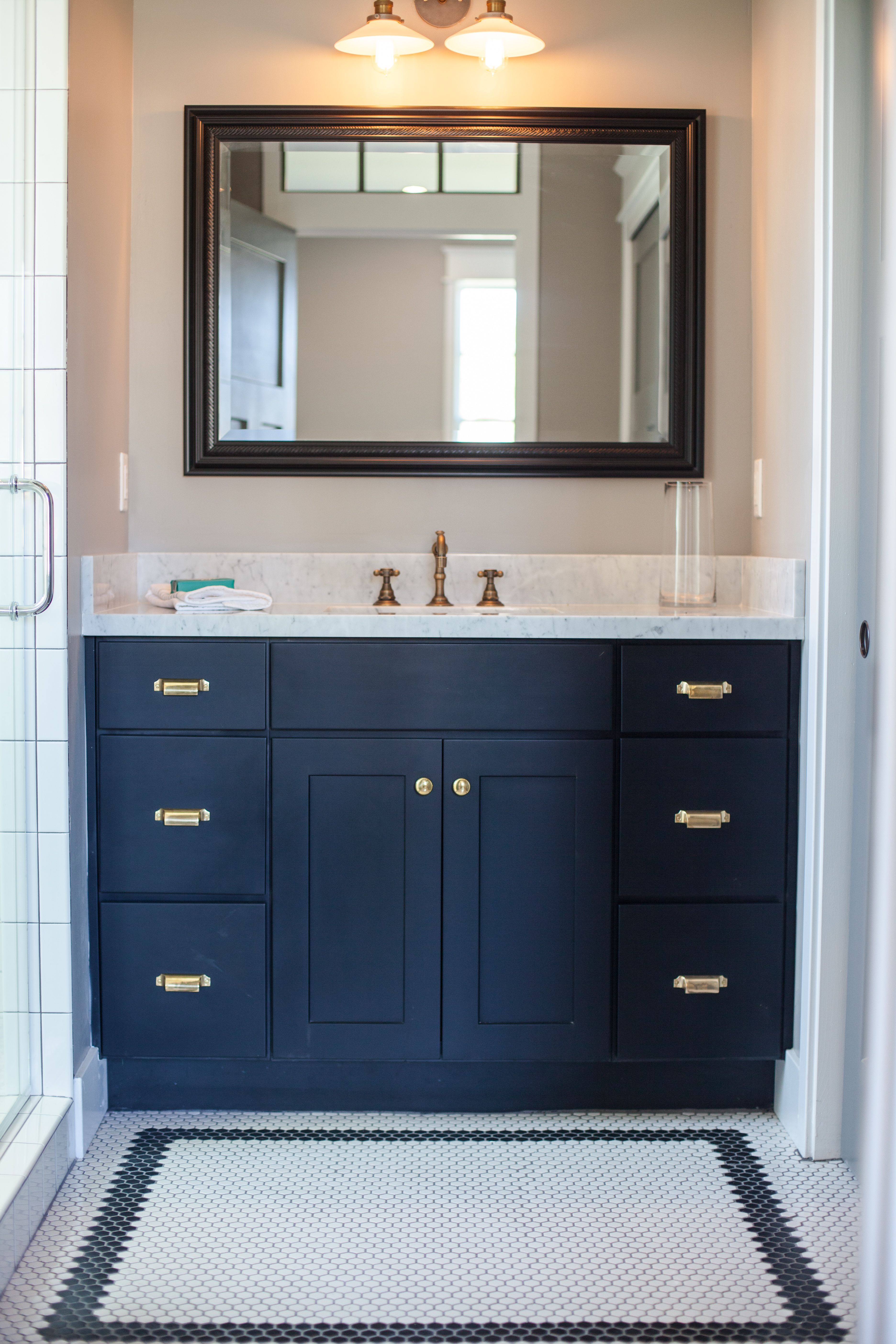 Black vanity with antique brass accents - by Rafterhouse. | Interior ...
