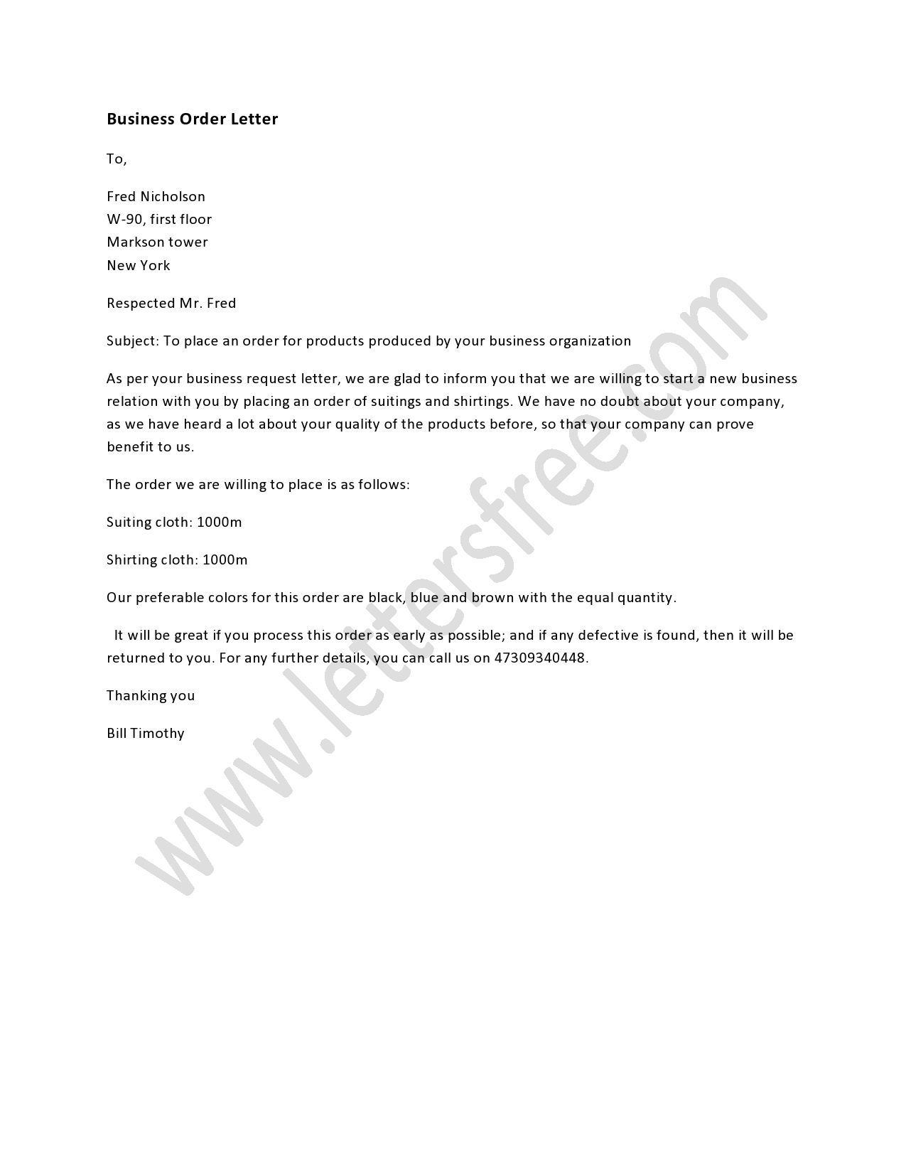 Business Order Letter  Order Letter And Business