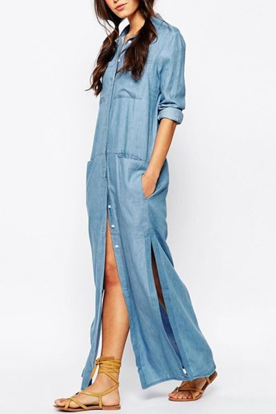 09d1649fb Side Slit Button Front Denim Maxi Dress in 2019 | OUTFIT INSPO ...