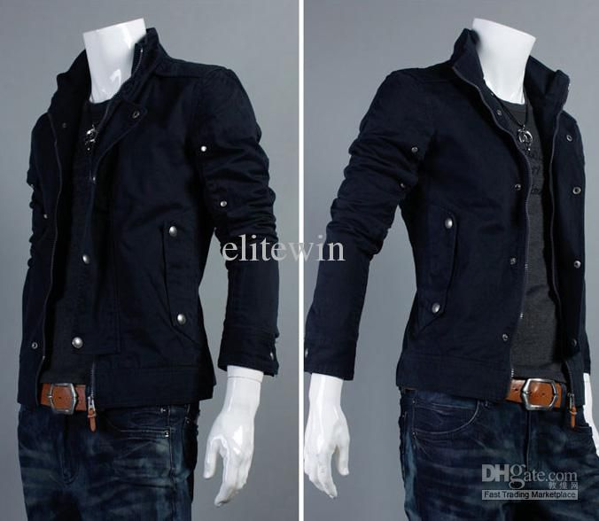 Hottest 2013 Fashion Korea black Men's winter Jacket Hoodie men's ...