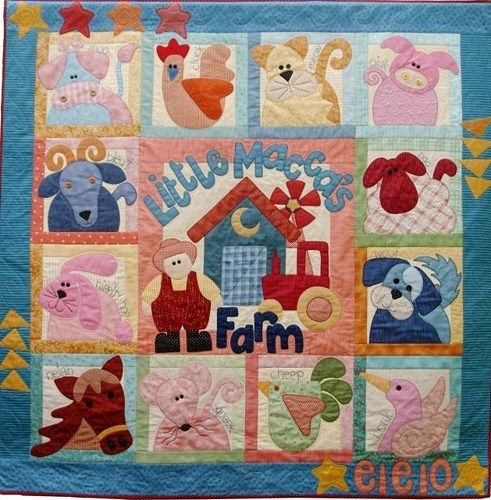 Old Macdonald Had A Farm Eieio Applique And Pieced Play Mat Or Crib Quilt Quiltsforu2 Quilts On Artfire Farm Quilt Farm Quilt Patterns Animal Quilts