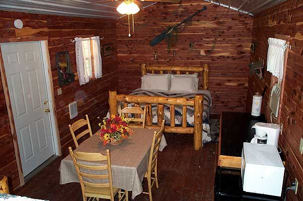 One Room Cabin Interiors Open Year round with heated shower house