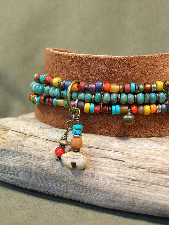 Turquoise Bracelet, Beaded Bracelet, Suede Bangle Bracelet, Leather Bracelet, Southwestern Bracelet, Tribal Jewelry, Bohemian Jewelry