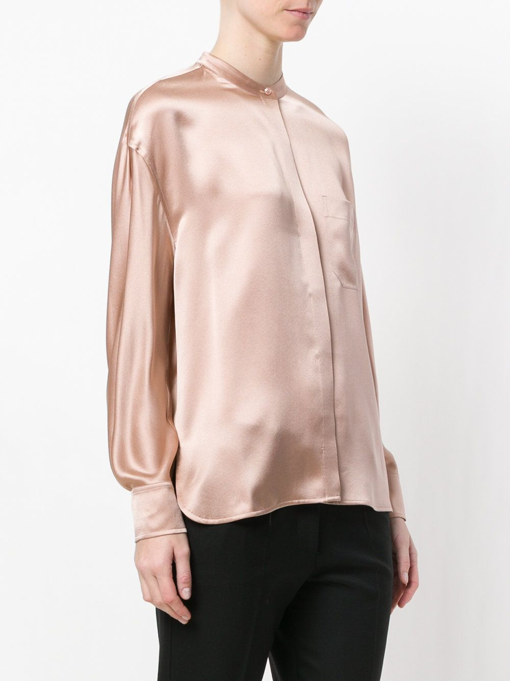 712686b81b43e Nude pink silk placket blouse from Vince featuring a band collar ...