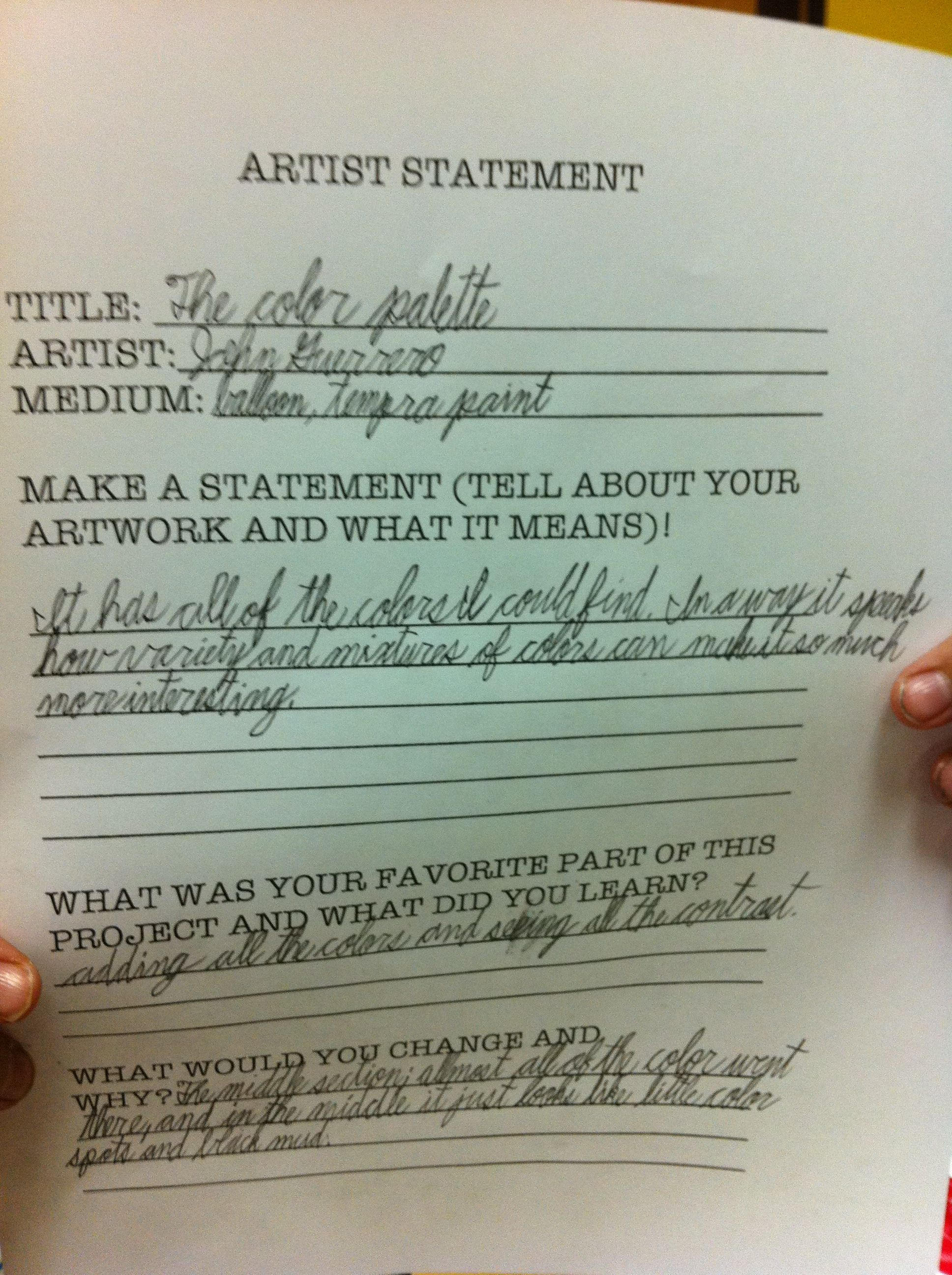 Another artist statement for abstract expressionism art