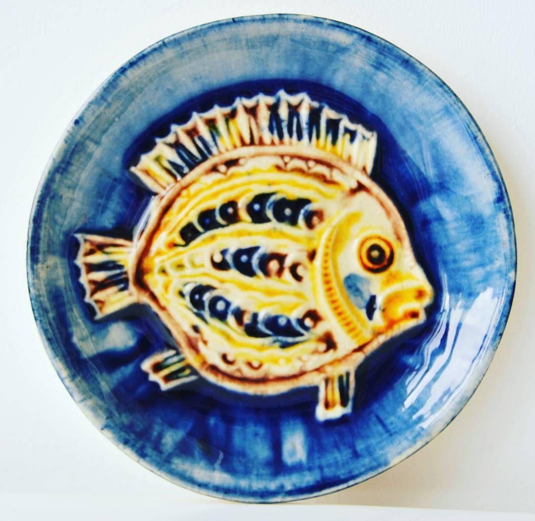West german pottery wall plate with fish decor. #potteryart#art ...