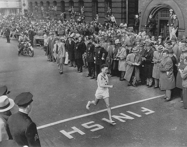 19 year old Shigeki Tanaka, Hiroshima bomb survivor, wins the 1951 Boston Marathon.  The crowd were silent as he crossed the finishing line