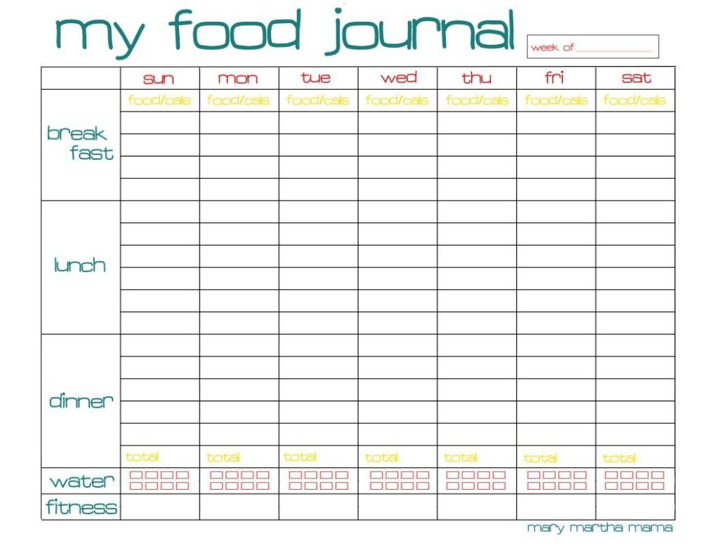 Free Printable Food Journal Page For A Whole Week Mary Martha Mama Food Journal Printable Food Journal Printable Food Journal