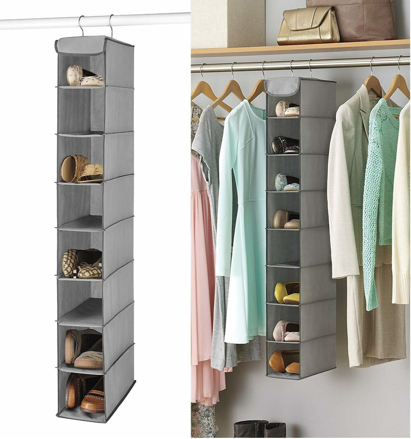 8 Section Space Saving Shoe Storage Closet Organizer Hanging Shelf Rack Gray Closet In 2020 Storage Closet Organization Hanging Shoe Storage Closet Shoe Storage
