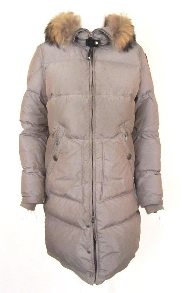 PARAJUMPERS KHAKI/BEIGE LIGHTWEIGHT LONG BEAR FUR TRIMMED HOODED COAT SZ.L # Parajumpers