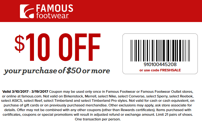 Pinned March 15th 10 Off 50 At Famousfootwear Or Online Via Promo Code Freshsale Thecouponsapp Shopping Coupons Famous Footwear Coupons