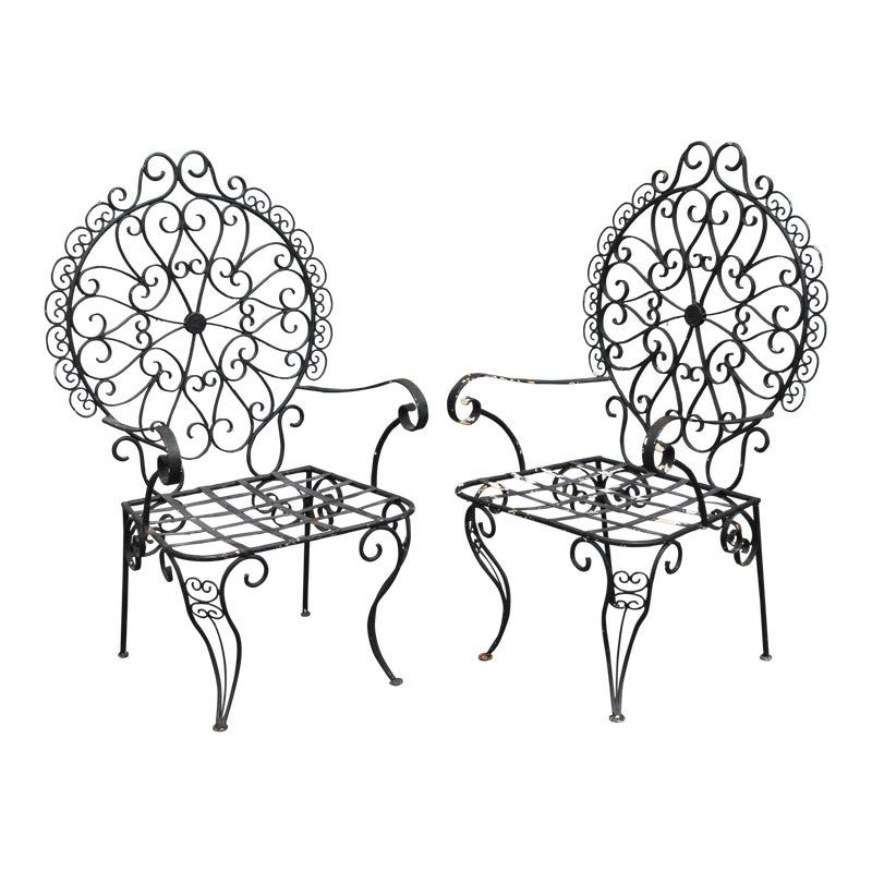 Mid-Century Patinated Wrought Iron Garden Chairs