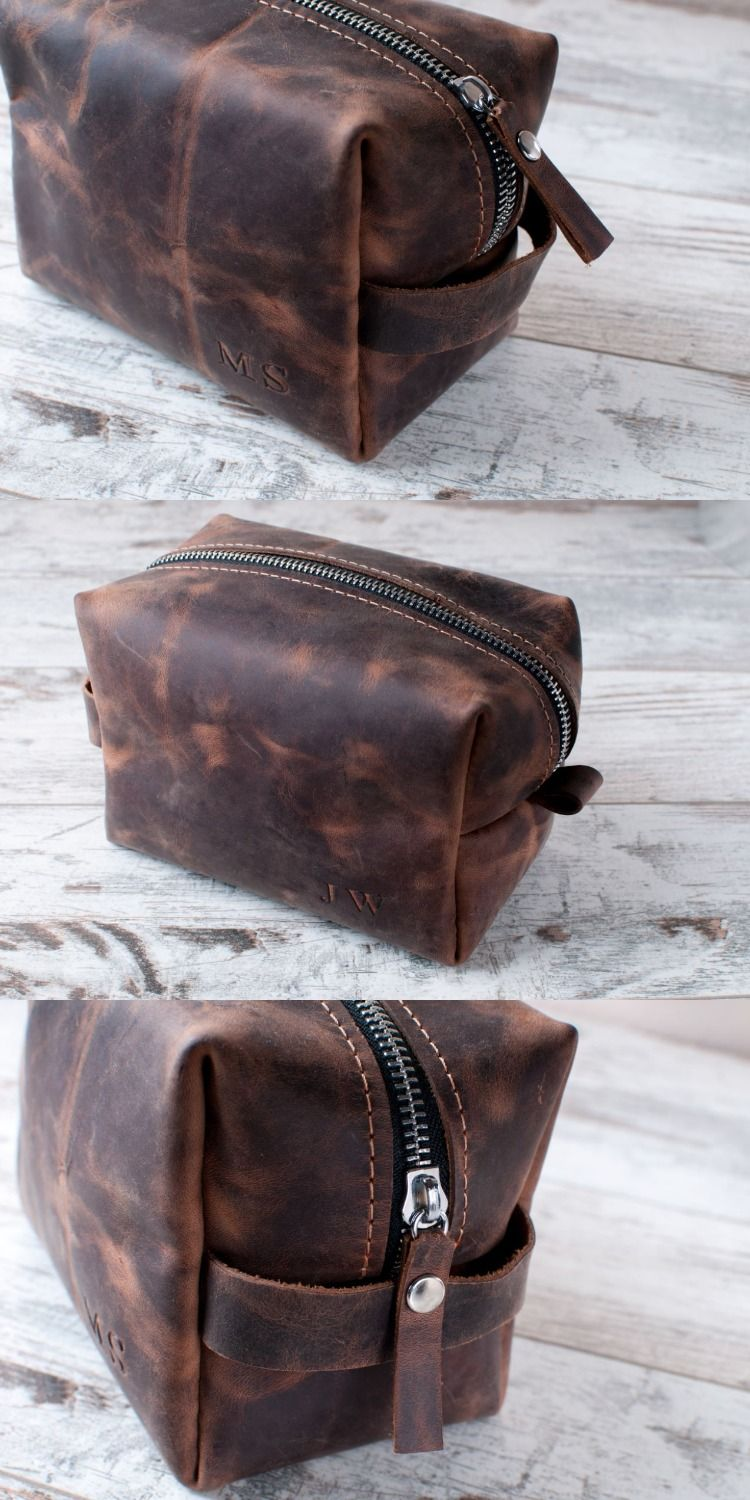 Dopp Kit Personalized Gift Mens Toiletry Bag Leather Travel Groomsmen Wash 3rd Anniversary