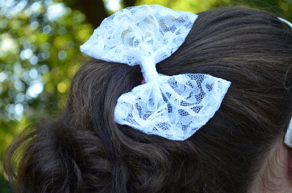 Handmade white lace bow  with FREE SHIPPING by TheSweetBeanBoutique, $6.00