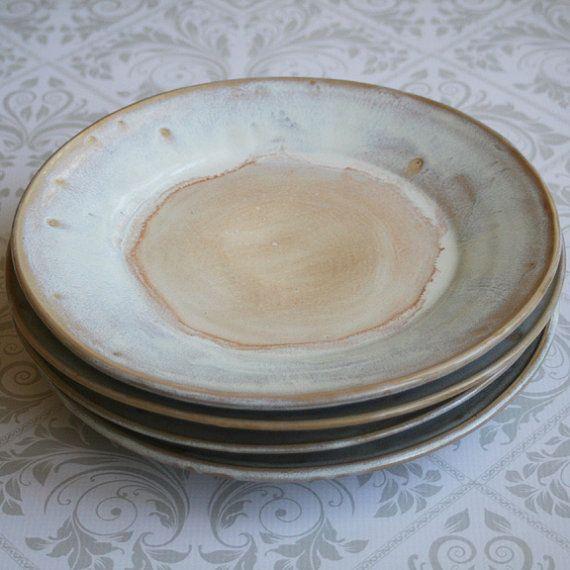 Rustic White Dinner Plates Set of Four Handmade Ceramic Dishes Stoneware Dinnerware Made in USA Ready to Ship & Rustic White Dinner Plates Set of Four Handmade Ceramic Dishes ...