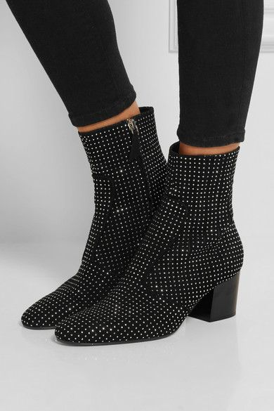 LAURENCE DACADE Ringo studded suede boots  Heel measures approximately 65mm/ 2.5 inches Black suede Zip fastening along side