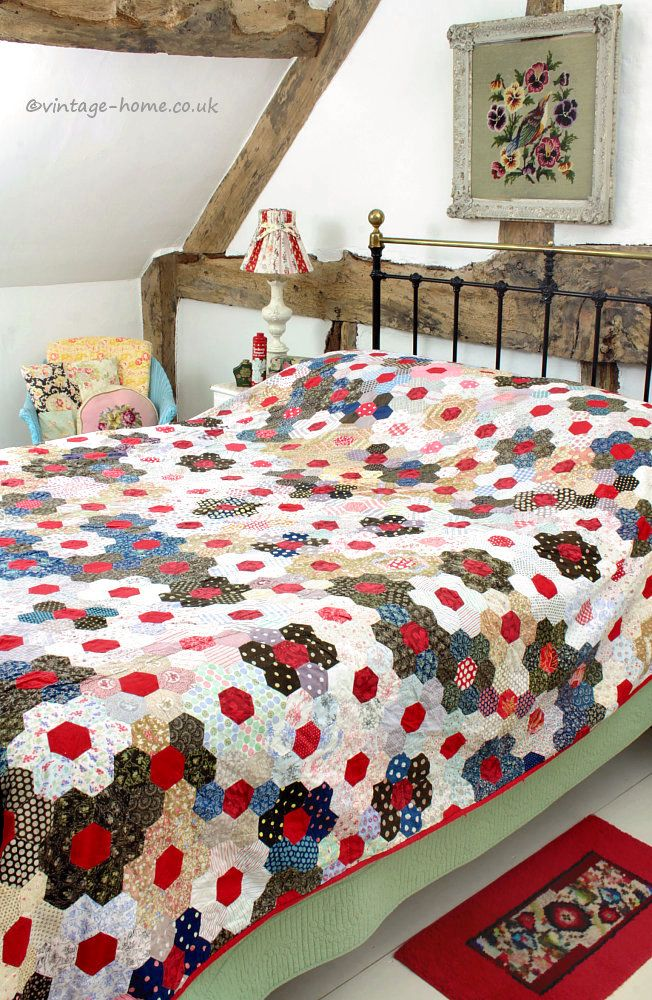 Colourful Victorian Patchwork Quilt in Country Cottage Bedroom: www.vintage-home.co.uk