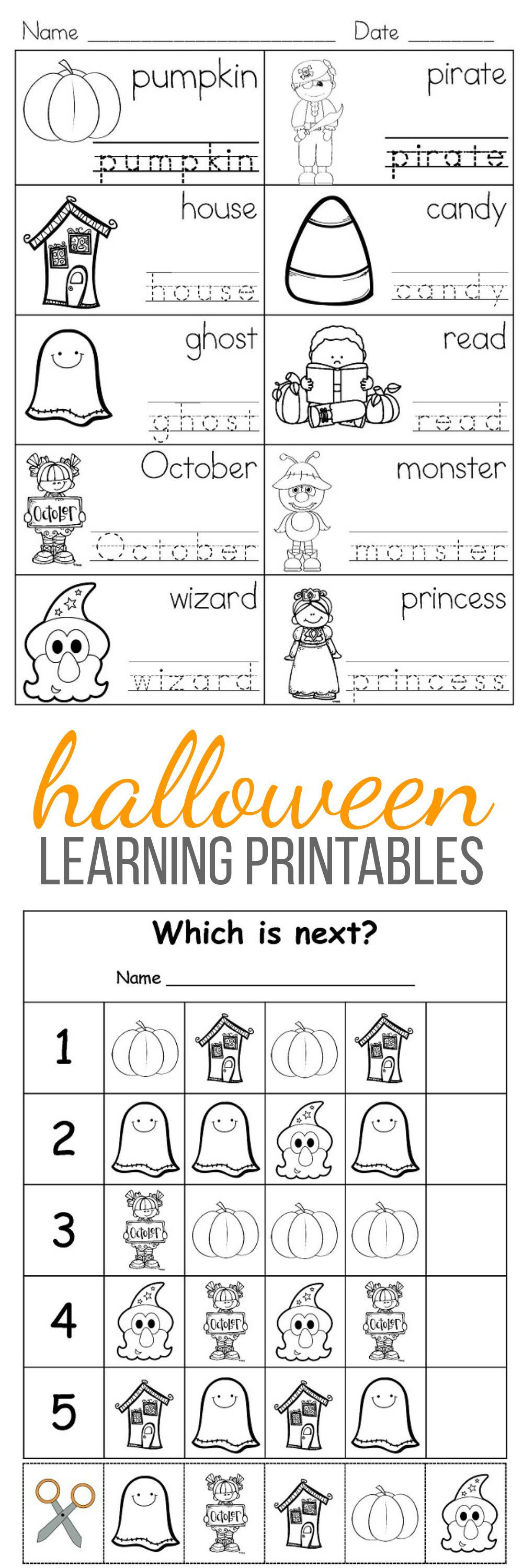Halloween Fun Learning Printables For Kids Halloween Worksheets