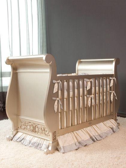 Bratt Decor Antique Silver Chelsea Sleigh Crib Dream Nursery For