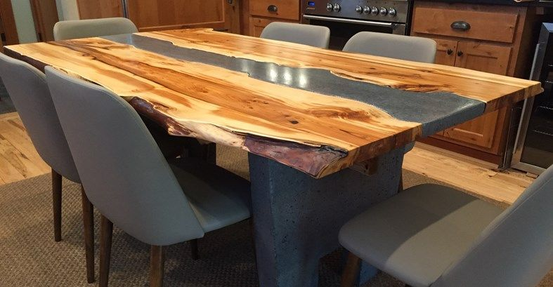 Custom Table Wood And Concrete Table Live Edge Concrete Furniture Crafthamm