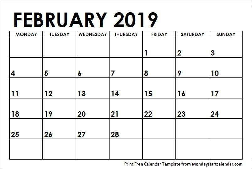 February Calendar 2019 Starts Monday Blank Calendar February 2019 Monday Start | Monday Start | Blank