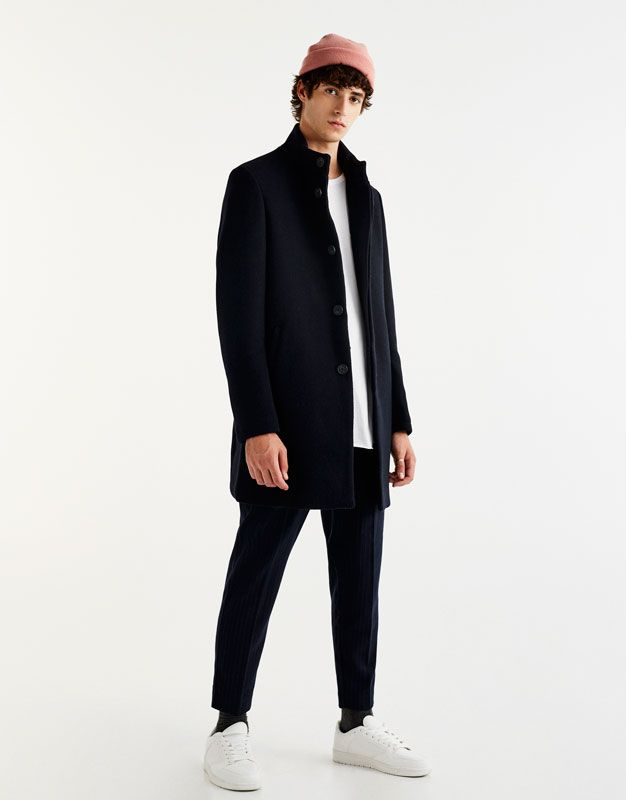 f7787dffe9 High neck coat - Coats - Coats and jackets - Clothing - Man - PULL BEAR  Singapore
