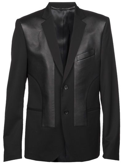 John Richmond - blazer with leather panels